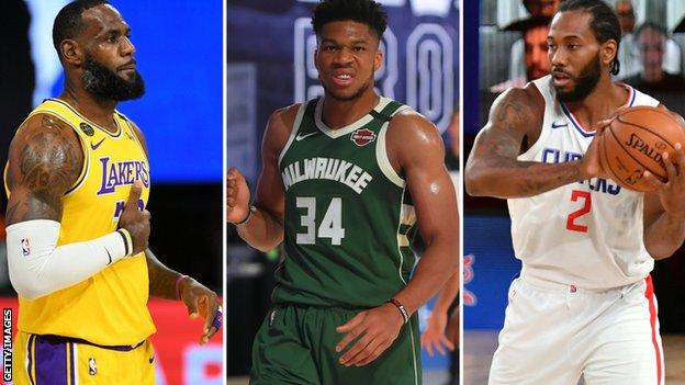 LeBron James (left), Giannis Antetokounmpo (centre) and Kawhi Leonard