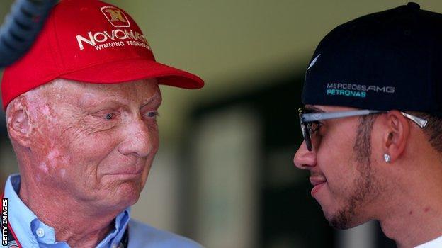 Niki Lauda and Lewis Hamilton