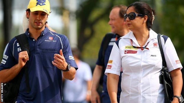 Sauber team boss Monisha Kaltenborn and driver Felipe Nasr