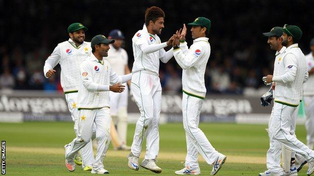 Mohammad Amir celebrates with his team-mates