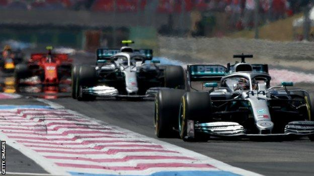 Lewis Hamilton leads the French GP