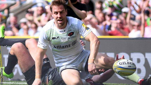 Chris Wyles scores in the Premiership Final for Saracens v Exeter