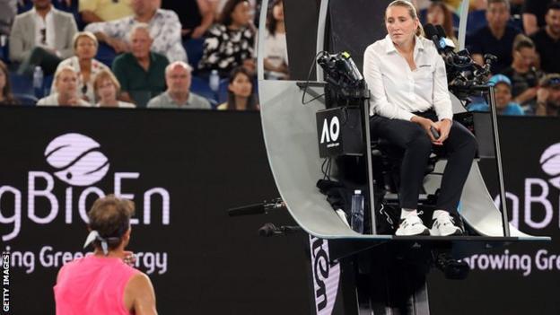 Rafael Nadal and umpire Aurelie Tourte