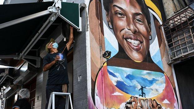 A mural of Yulimar Rojas in the Venezuelan capital Caracas