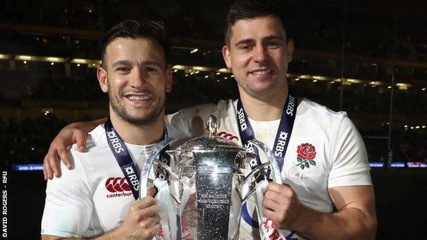 Danny Care and Ben Youngs playing for England