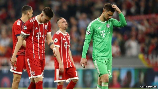 Bayern Munich players at full-time
