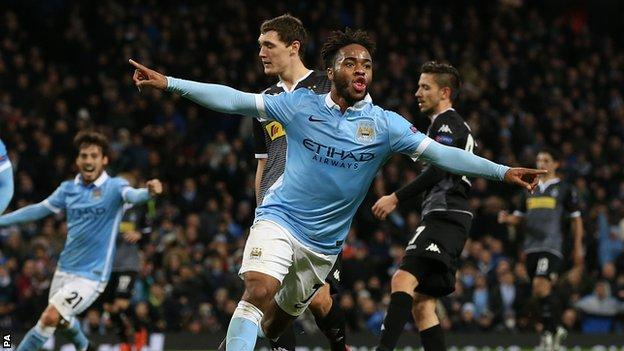Raheem Sterling celebrates scoring against Borussia Monchengladbach