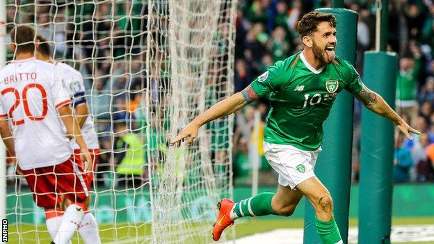 Delight for Robbie Brady after he doubles the Republic lead in Dublin