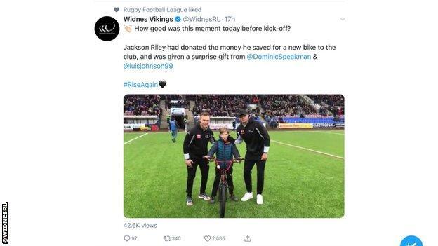 Widnes fan given bike