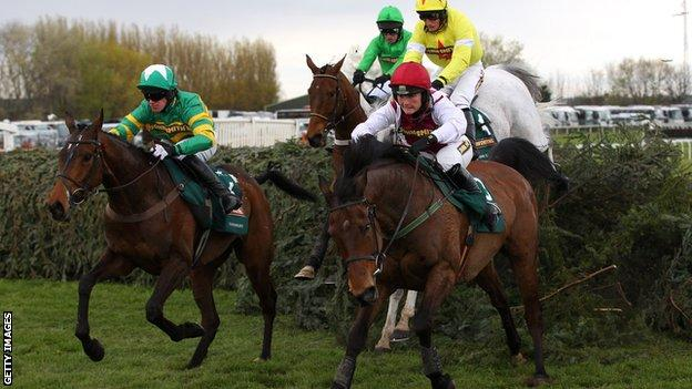 Katie Walsh rides Seabass during the 2012 Grand National