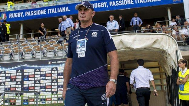 Vern Cotter emerges from the tunnel at Stadio Olimpico in Turin
