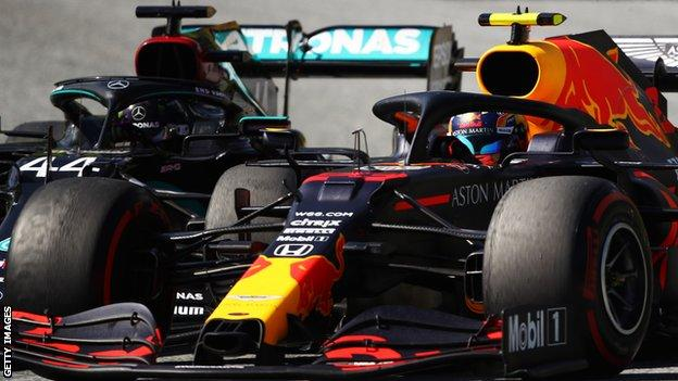 Lewis Hamilton and Alex Albon