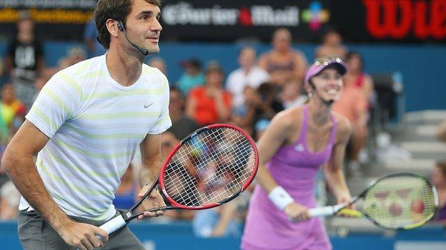 Roger Federer(left) with Martina Hingis