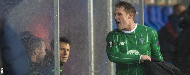 Celtic's Kris Commons shows his disappointment at being substituted
