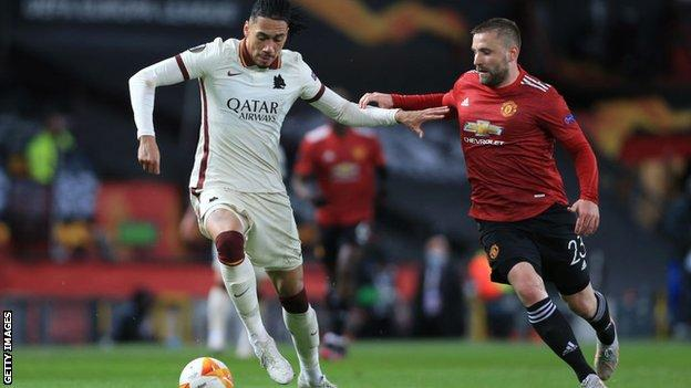 Chris Smalling and Luke Shaw in action as Roma faced Man Utd in Europa League semi-final