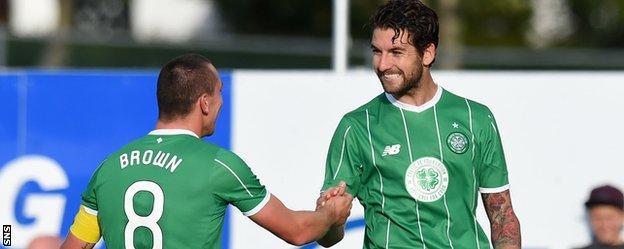 Celtic captain Scott Brown congratulates Charlie Mulgrew