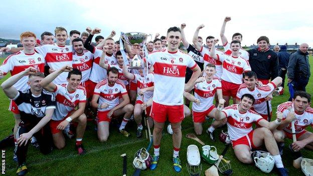 The Derry squad celebrates after Wednesday evening's win