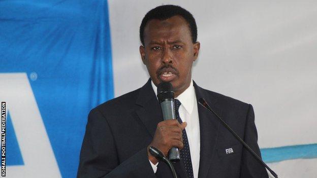 The president of Somali Football Federation Abdqiani Said Arab