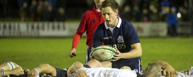 Murdo McAndrew in action for Scotland Under-20s