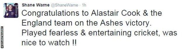 Shane Warne tweet