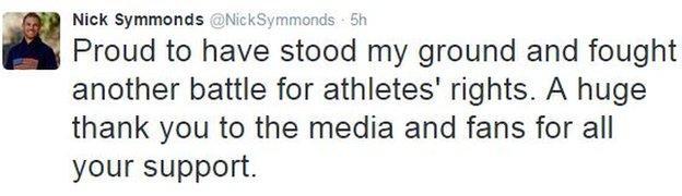 Nick Symmonds tweet