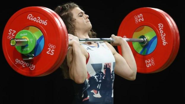 Rebekah Tiler lifting at the Rio Olympics