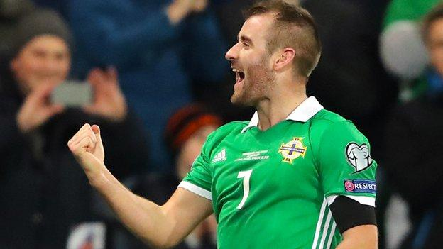 Niall McGinn celebrates after breaking the deadlock in the second half