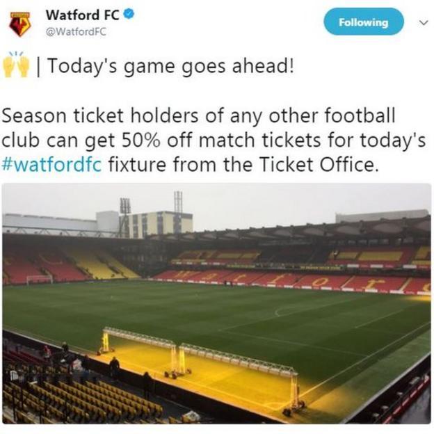 Watford tweet