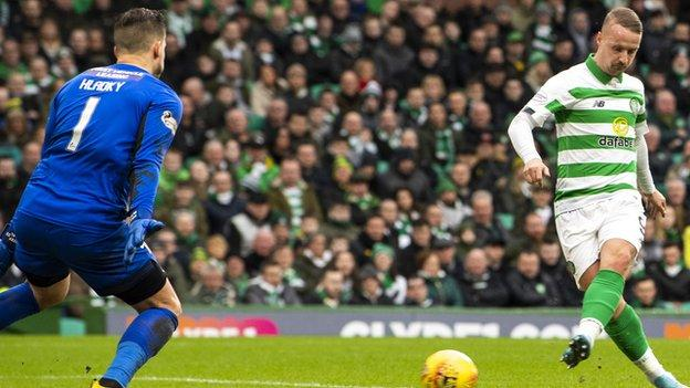 Leigh Griffiths scored a hat-trick as Celtic hammered St Mirren 5-0 in their final game before the coronavirus-enforced shutdown