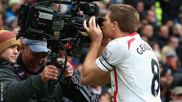 Steven Gerrard celebrated scoring a penalty against Man Utd in 2009 with a kiss to the camera