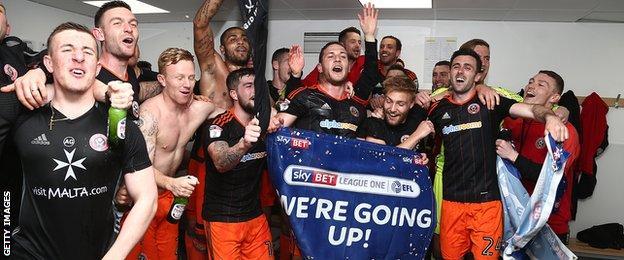 Sheffield United celebrate promotion