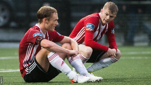 Derry City players show their disappointment after the defeat by Harps at Finn Park in July