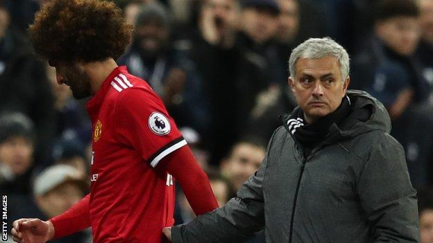 Mourinho lost Marouane Fellaini to injury seven minutes after sending him on