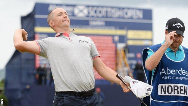 Alex Noren celebrates his Scottish Open victory