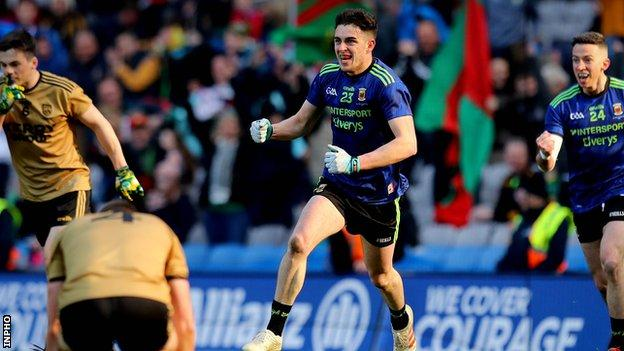 Ciaran Tracey celebrates scoring Mayo's third goal in Sunday's victory over Kerry