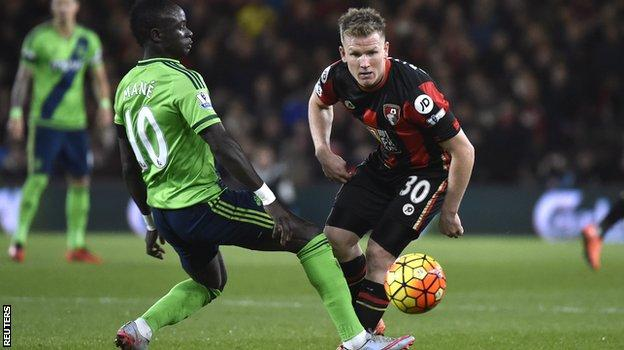 Southampton forward Sadio Mane (left) and Bournemouth midfielder Matt Ritchie