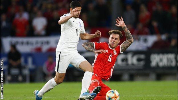Wales defender Joe Rodon (right) tackles Ramil Sheydaev of Azerbaijan