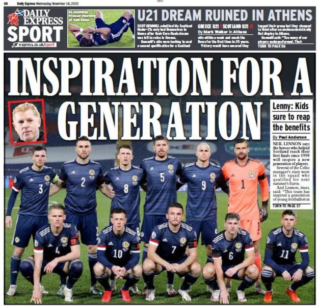 The back page of the Scottish Daily Express on 181120