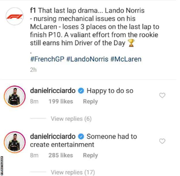 F1 Instagram