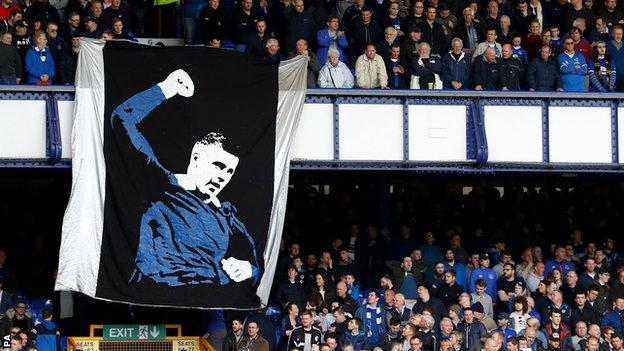 Everton fans displayed a banner to show their support for Barkley
