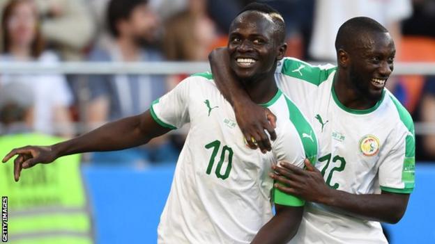 Sadio Mane celebrates scoring for Senegal against Japan at the World Cup