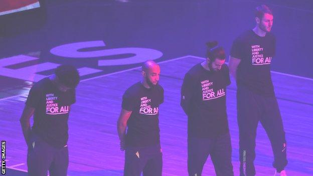 Minnesota Timberwolves wear shirts supporting social justice