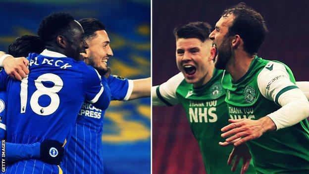 Brighton celebrate and Hibernian celebrate