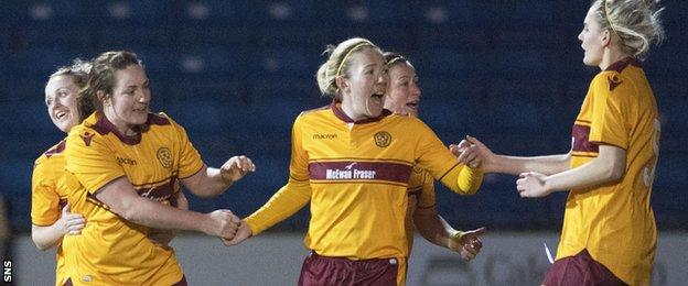 Motherwell's Samantha Hare (centre) celebrates her goal as they began the season with a 2-1 win over Kilmarnock