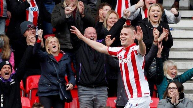 Ryan Shawcross had not scored at the Bet 365 Stadium since a 2-0 win at home to Watford in January 2017