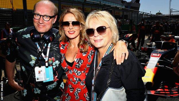 Ade Edmondson, Jennifer Saunders and Geri Horner at the British Grand Prix