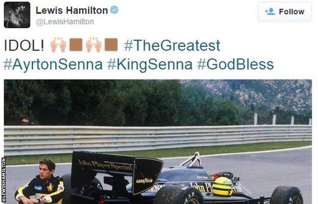 Lewis Hamilton tweet about Ayrton Senna