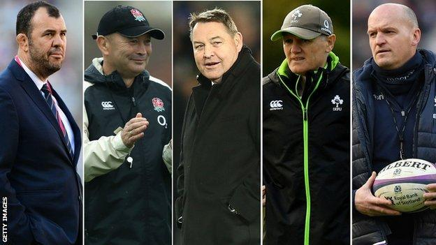 Michael Cheika, Eddie Jones, Steve Hansen, Joe Schmidt and Gregor Townsend