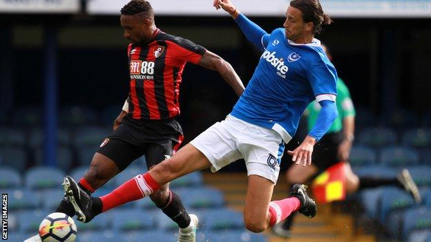 Jermain Defoe playing in the friendly for Bournemouth against Portsmouth