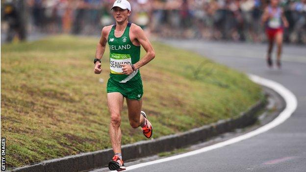 Kevin Seaward in action in the Olympic marathon in Rio